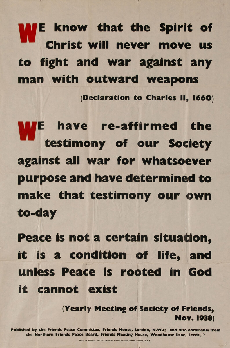 We Know .. WWII Friends Peace Commmmittee Anti War Poster
