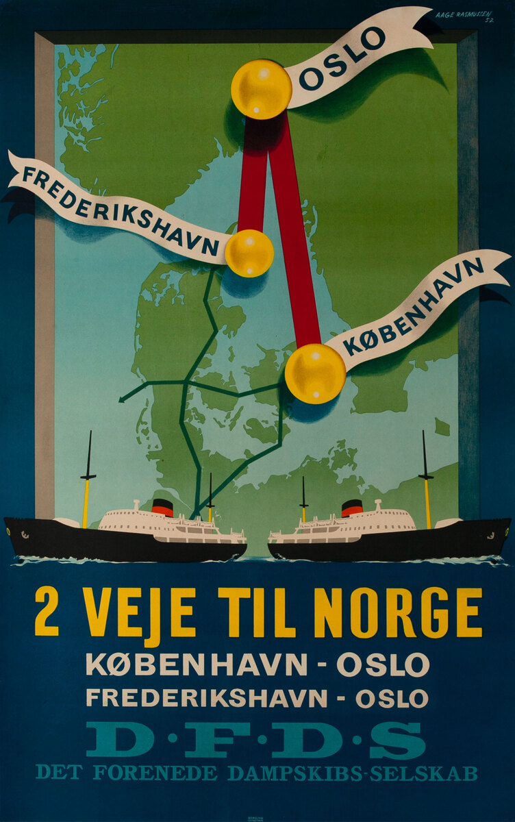 DFDS Danish Ferry Lines Poster 2 Veje Til Norge -2 Routes to Norway