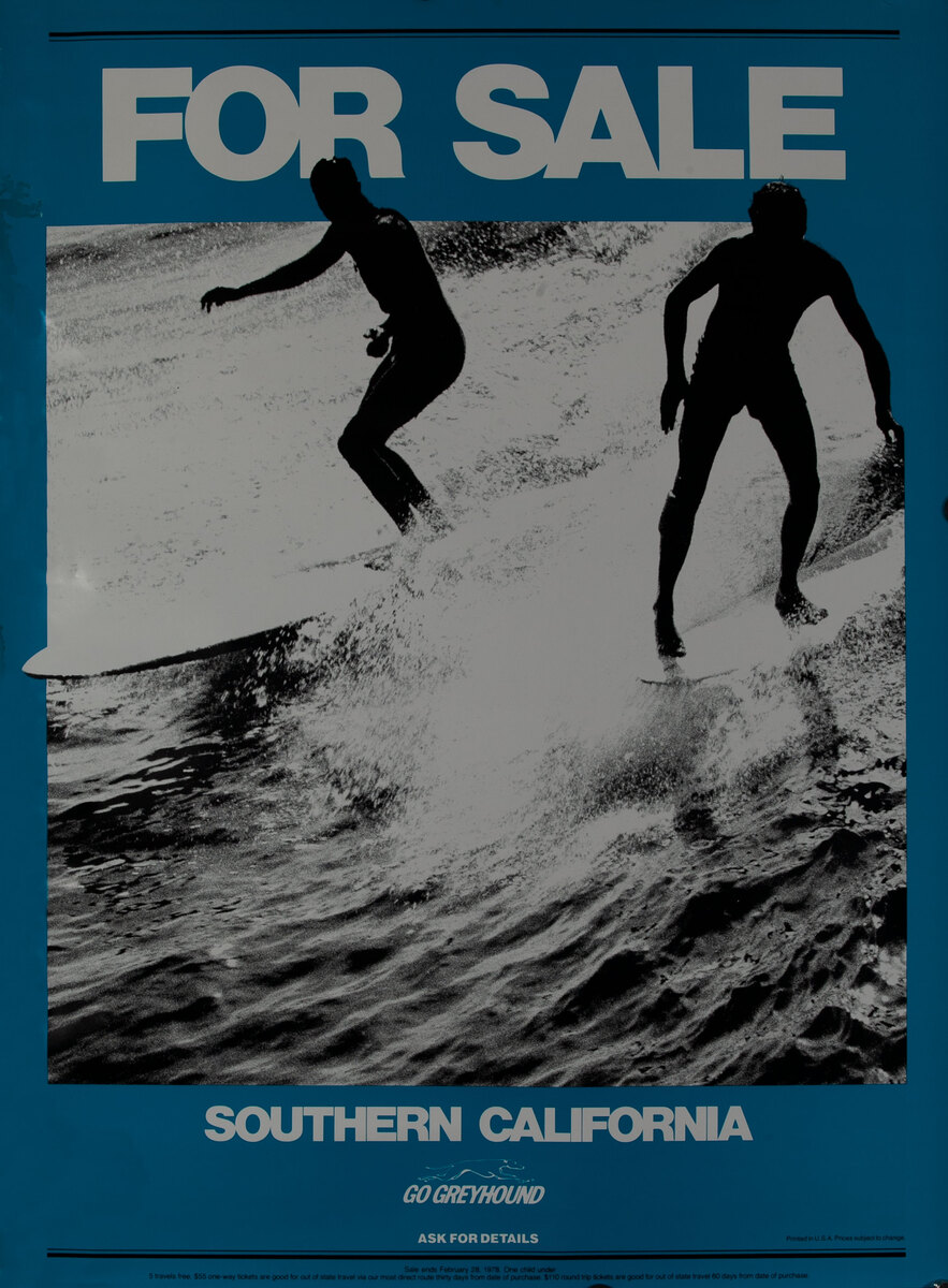 Go Greyhound Bus poster For Sale - Southern California Surfers