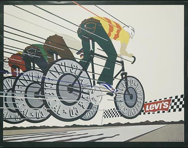 Levi's Pants Original Advertising Poster Bicycling