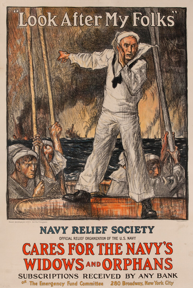 Look After My Folks<br> Navy Relief Society WWI Poster