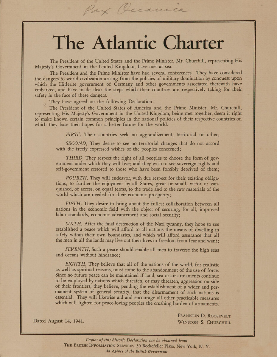 The Atlantic Charter, Original American WWII Poster Small format