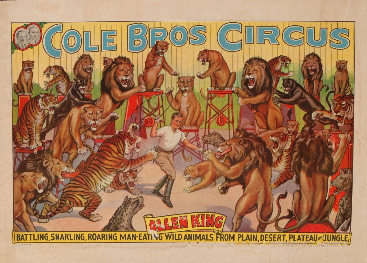 Cole Bros Circus - Allen King Wild Animals Lion Tamer