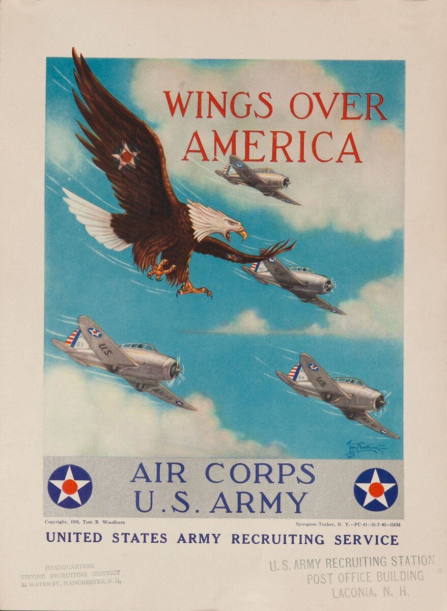 Wings Over America WWII  Air Corp US Army Recruiting Poster small size