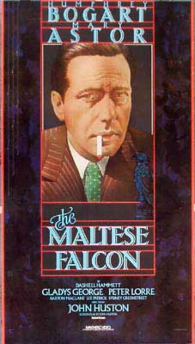 The Maltese Falcon Video Release Vintage Original Movie Poster