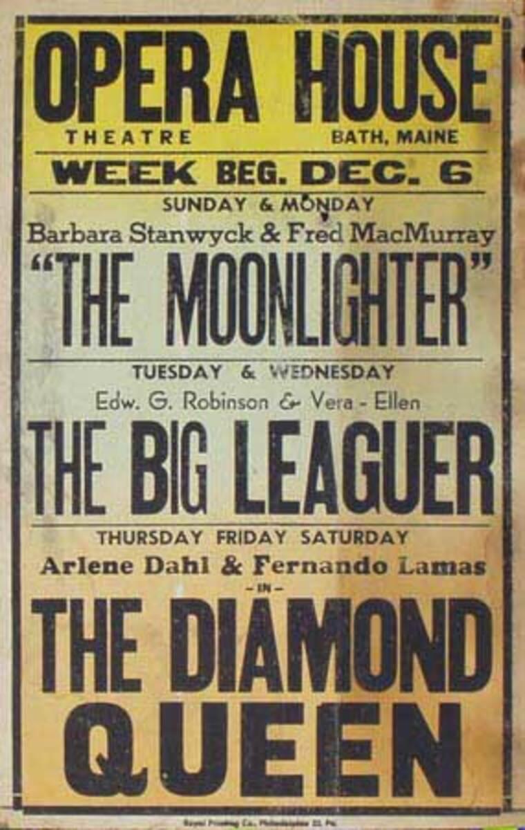 The Diamond Queen, The Big Leaguer Original Vintage Movie House Broadside Poster