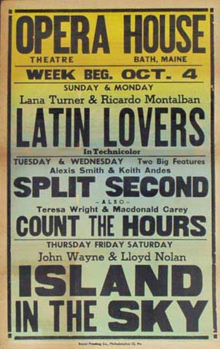 Island In The Sky, Latin Lovers Original Vintage Movie House Broadside Poster