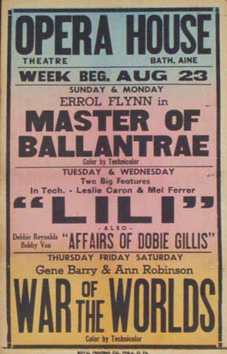War Of The Worlds, Lili Original Vintage Movie House Broadside Poster