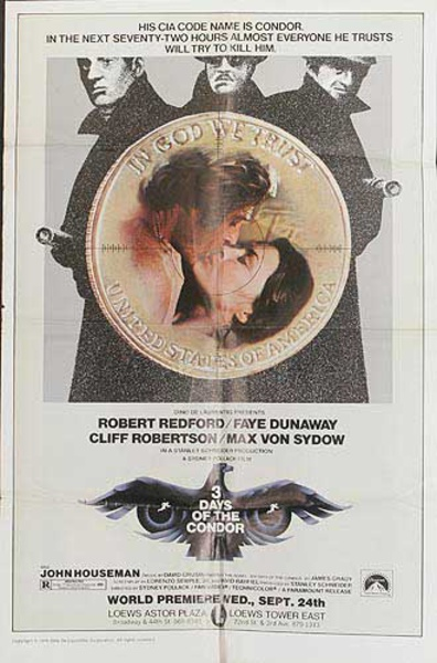 3 Days of the Condor Original Movie Poster
