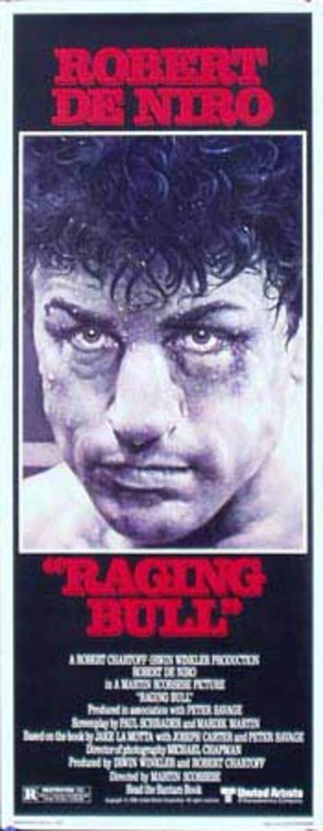 Raging Bull Original Vintage Movie Poster 14 x 36