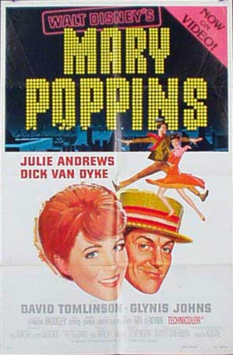 Mary Poppins Original Vintage Movie Poster video release