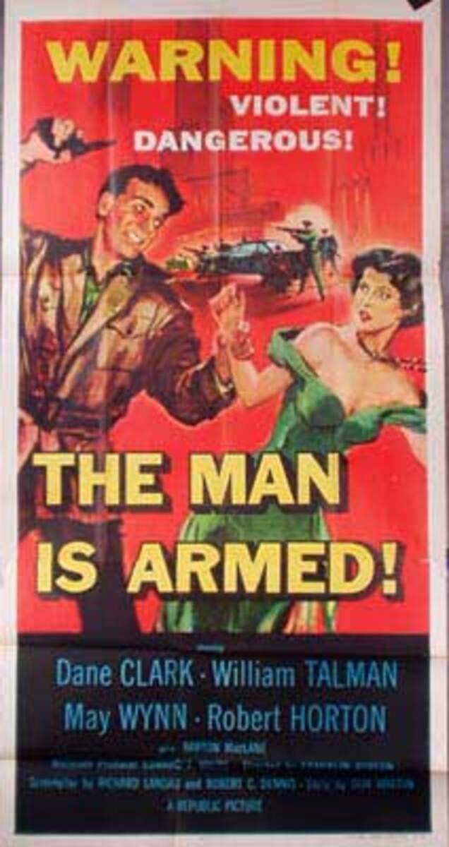 The Man Is Armed  B Vintage Original Movie Poster 3 Sheet