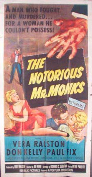 The Notorious Mr. Monks  B Vintage Original Movie Poster 3 Sheet