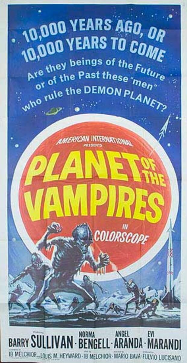 Planet of the Vampires Original Sci Fi 3 Sheet Movie Poster