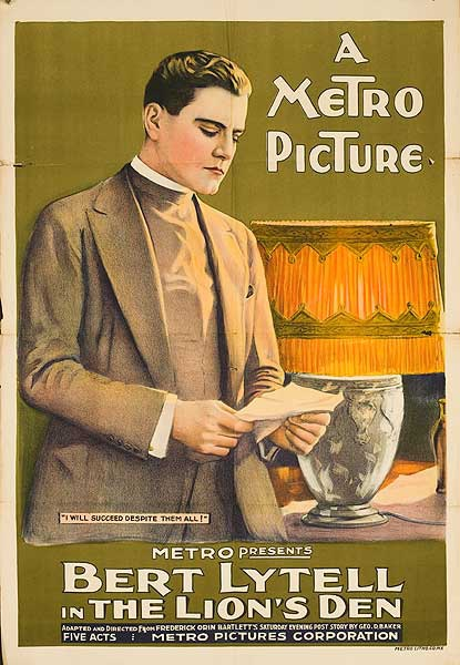 The Lion's Den Original Silent Movie Poster