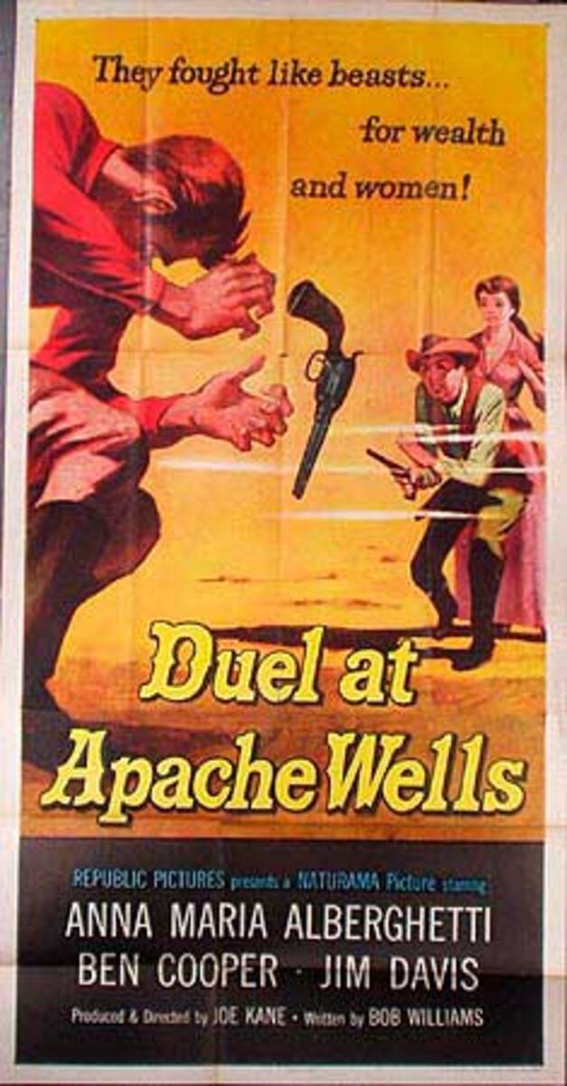Duel At Apache Wells  B Vintage Original Movie Poster 3 Sheet