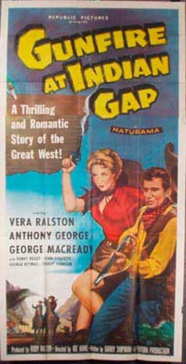 Gunfire at Indian Gap  B Vintage Original Movie Poster 3 Sheet