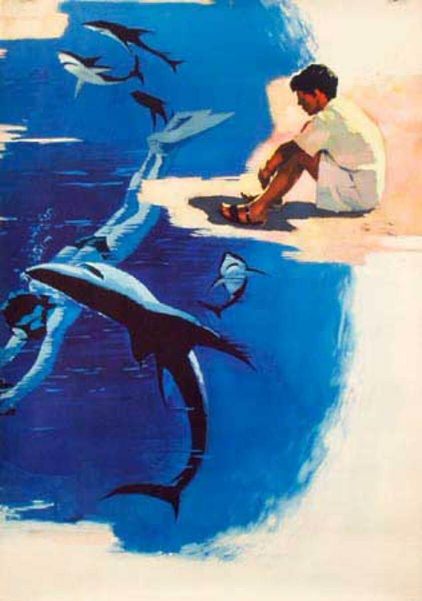 Scuba Diving with Sharks Original Vintage Russian Movie Poster Sovexportfilm USSR Sto