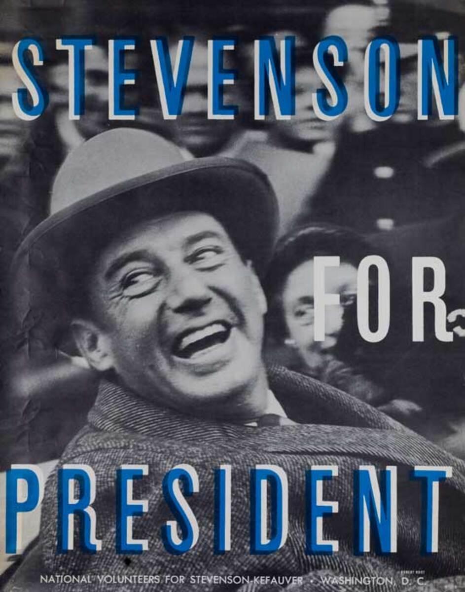 Adlai Stevenson for President Original Vintage Political Poster