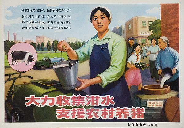 AAA Collect Waste to feed the Animals, Original Chinese Cultural Revolution  Conservation Poster