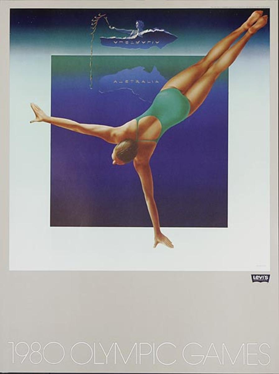 Levi's Pants Original Advertising 1980 Olympics Poster Australia Diver