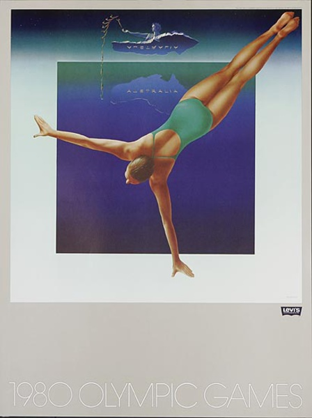 Levi's Pants Original Advertising 1980 Olympics Poster Australia Diver