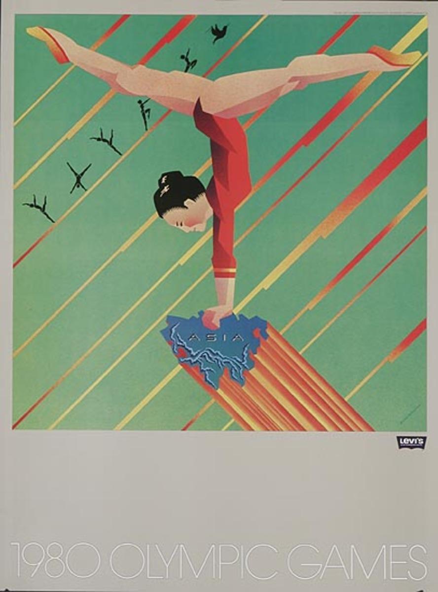 Levi's Pants Original Advertising 1980 Olympics Poster Asia Gymnast