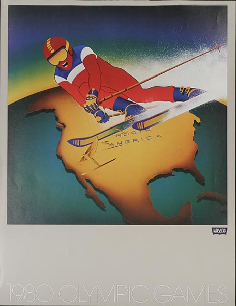 Levi's Pants Original Advertising 1980 Olympics Poster North America [[Ski]]