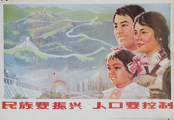 AAA If You Want to Prosper, You Must Control The Population, Original Chinese Cultural Revolution Poster One Child Plan