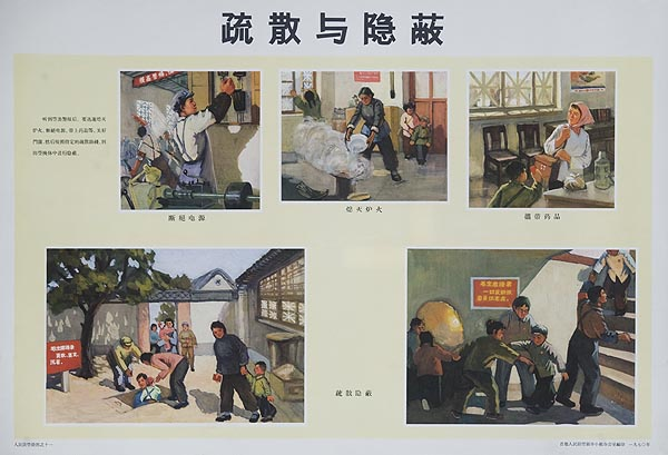 Going to Underground Shelter Original Chinese Cultural Revolution Civil Defense Poster