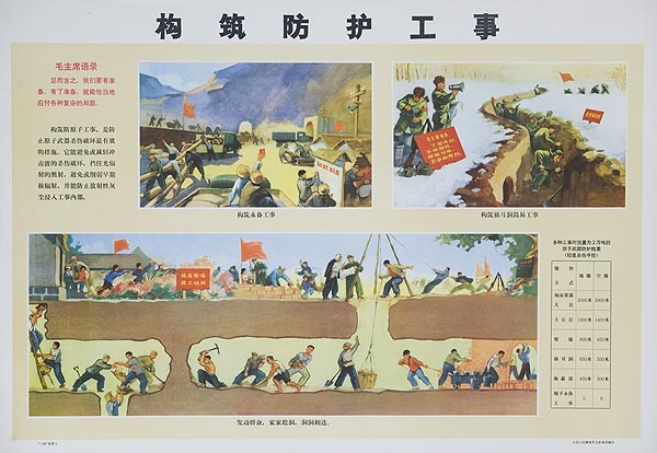 Digging Underground Tunels Original Chinese Cultural Revolution Civil Defense Poster