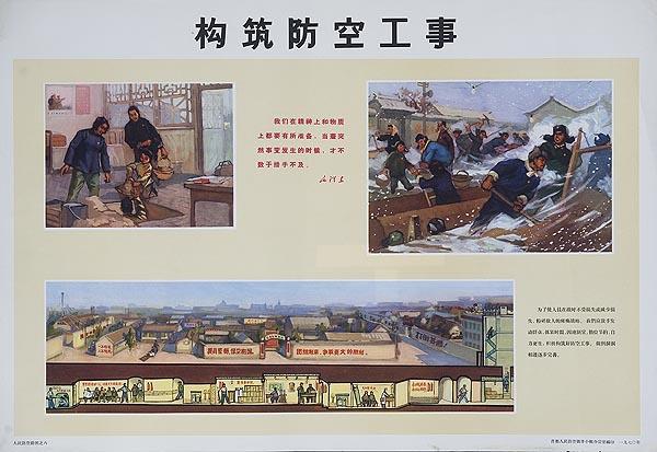 Underground Town Original Chinese Cultural Revolution Civil Defense Poster
