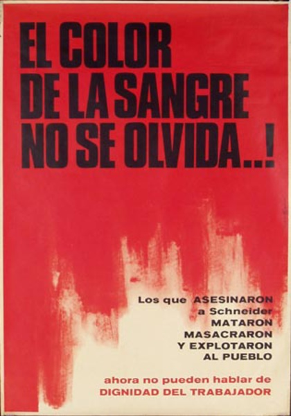 Chilean Workers Rights Original Vintage Political Protest Poster The Color of Blood