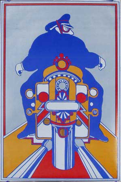 Chwast Motocycle Original Vintage Poster
