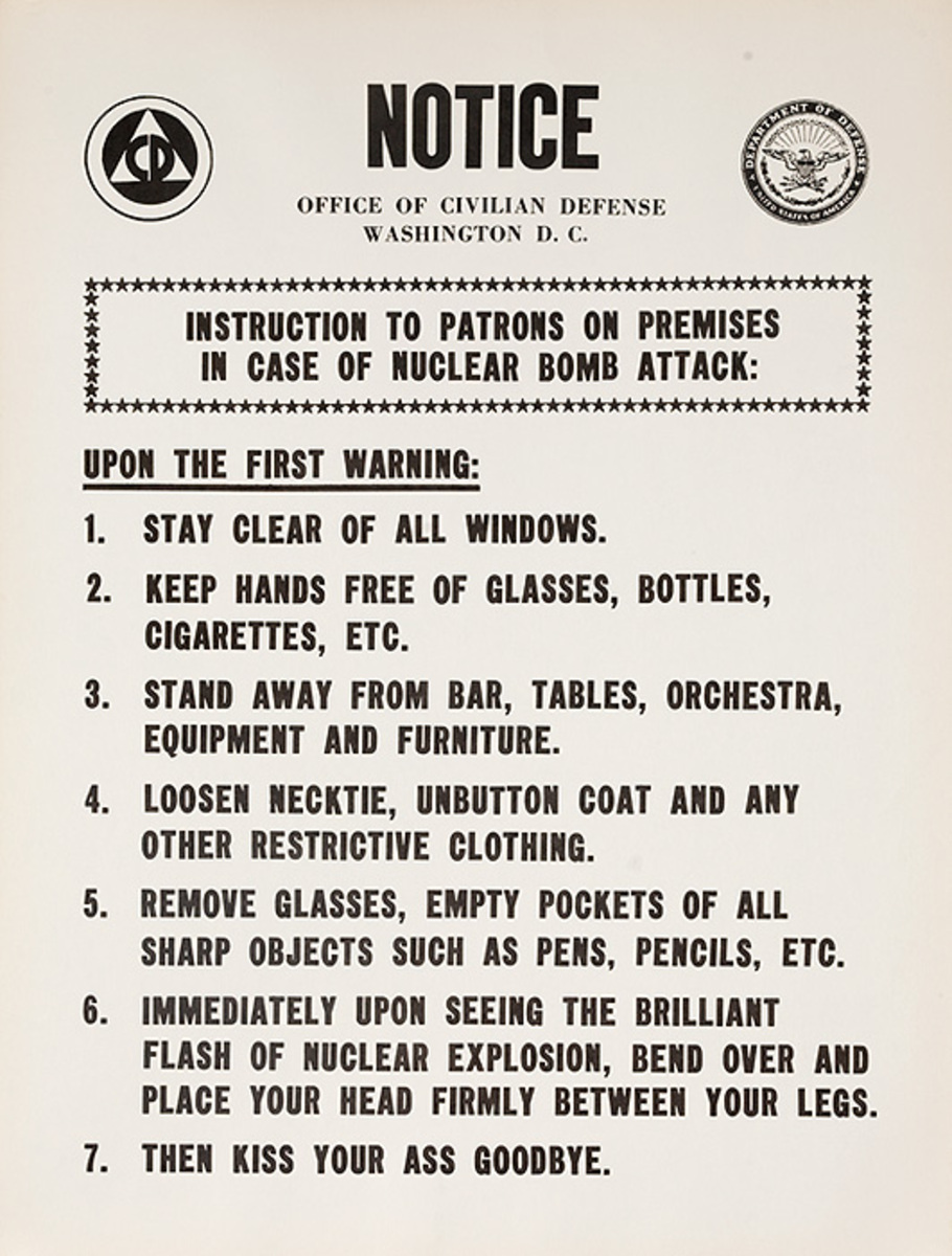 Anti Nuclear War Protest Poster NOTICE