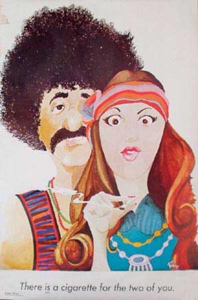 Original Original Vintage 60s Protest Hippy Poster A [[Cigarette]] For the Two Of You (Marijuana)