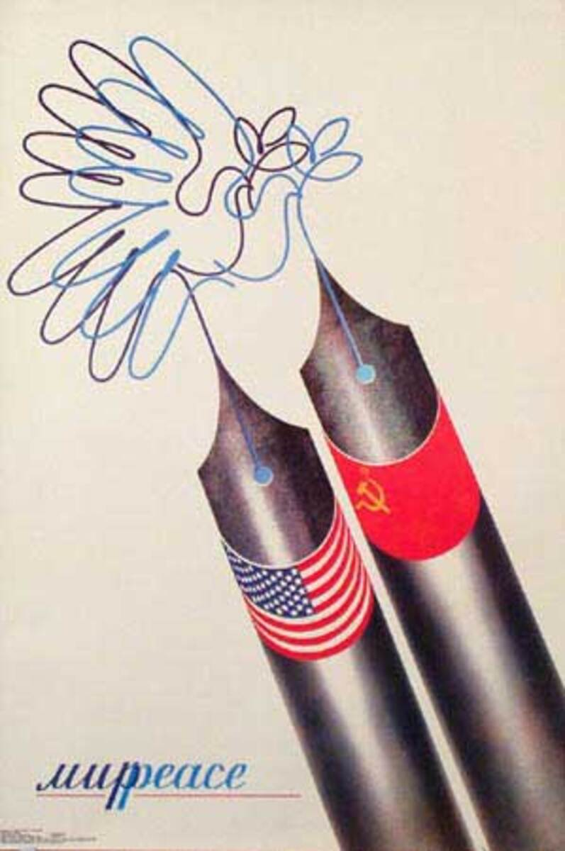 Fountain Pens Writing Peace in Several Languages Russian USSR Original Political Cold War Propaganda Poster