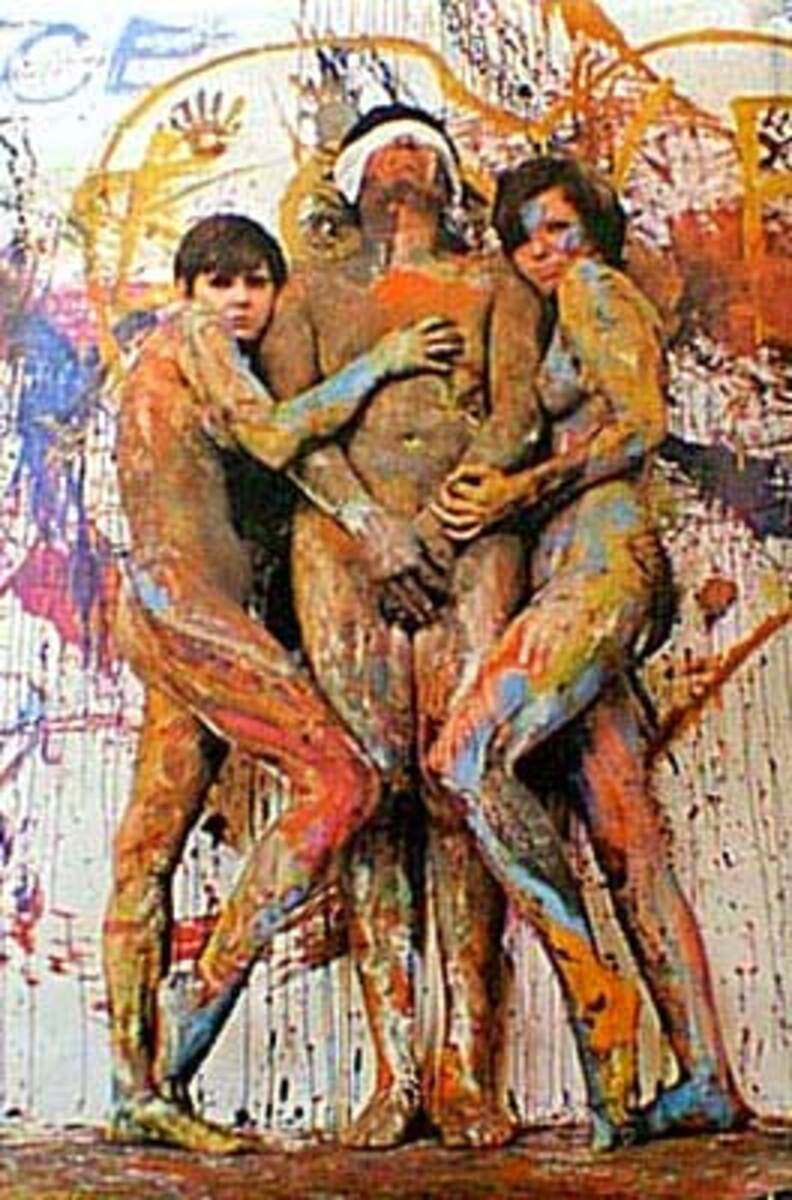 Painted Nude Trio Psychedelic Sixties Original Vintage Poster