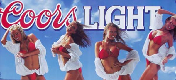Coors Light Beer Four Babes in Bikini Original Advertising Poster Shoes