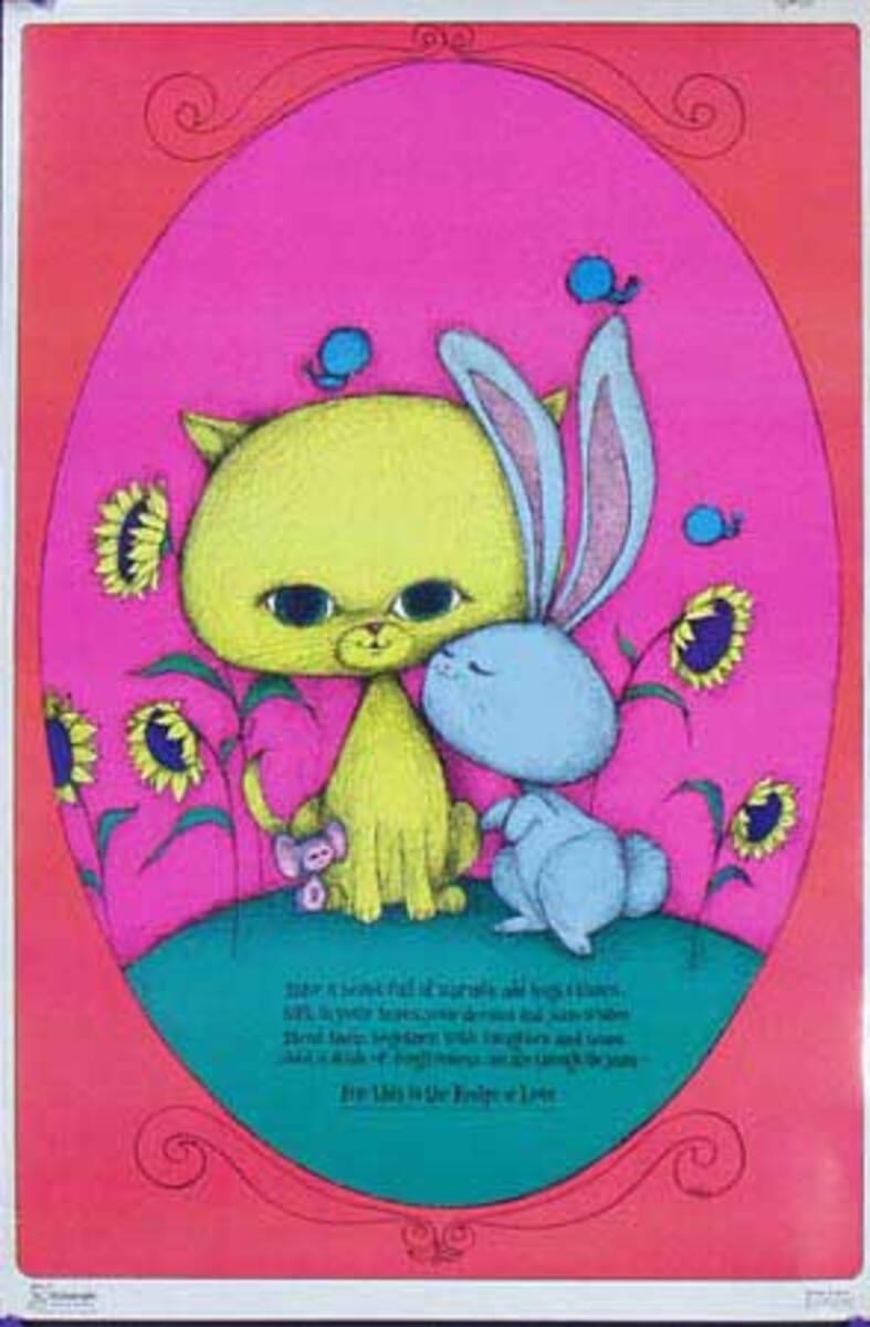 Recipe of Love Original Vintage 1960s Psychedelic Poster