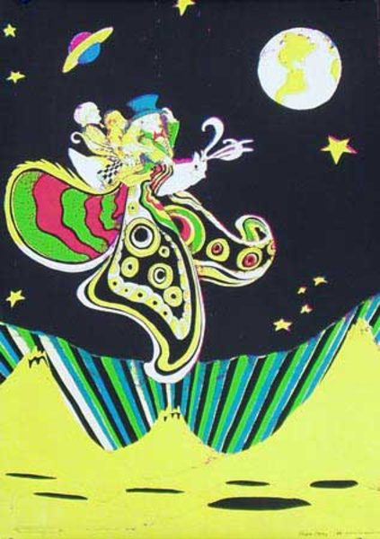 Butterfly in Orbit Original Vintage 1960s Psychedelic Poster