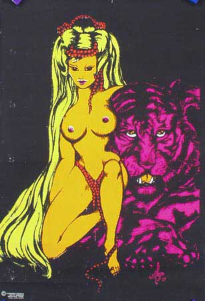 Babe and Tiger day glo black light Original Vintage Psychedelic Era Poster