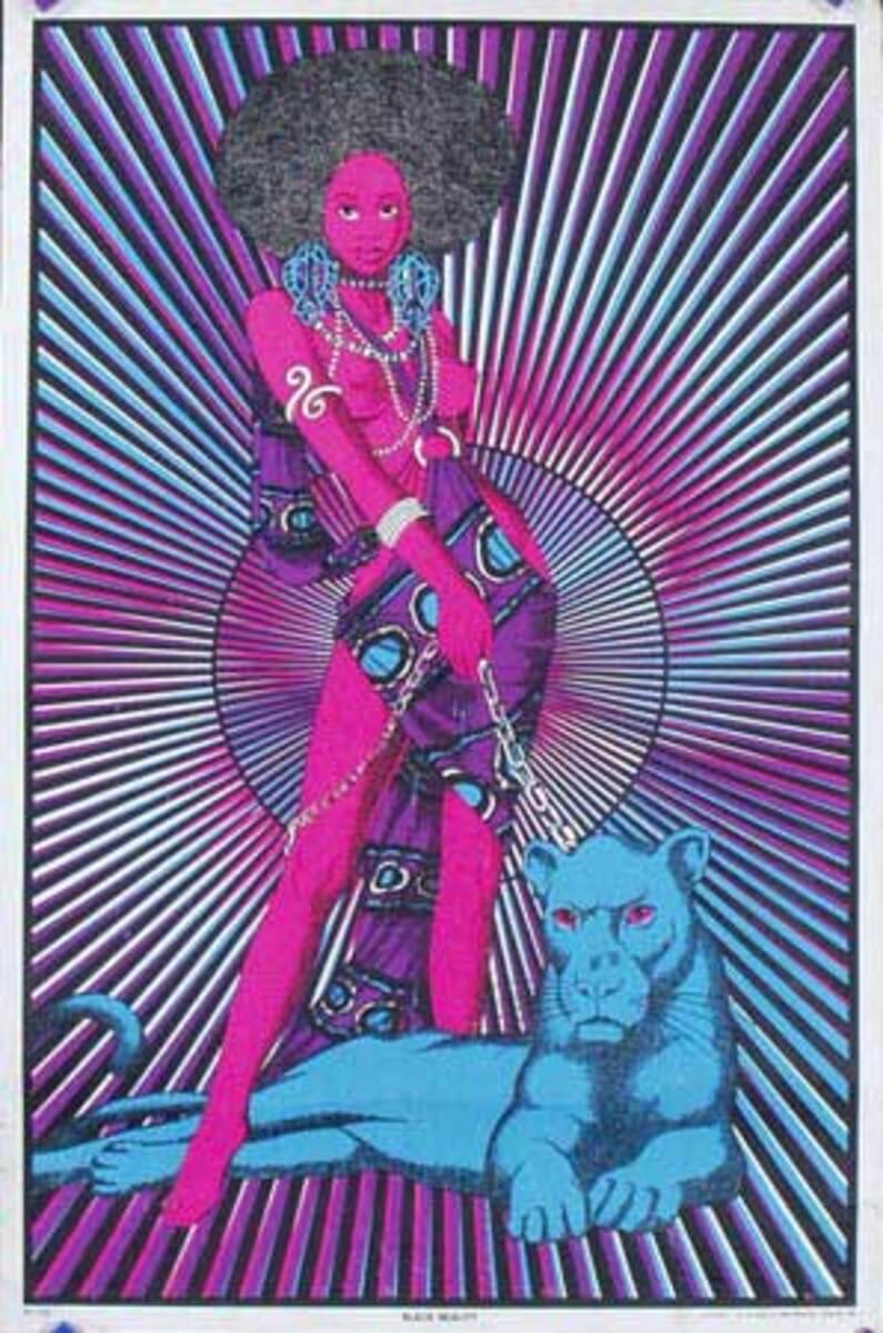 Black Beauty day glo black light Original Vintage Psychedelic Era Poster