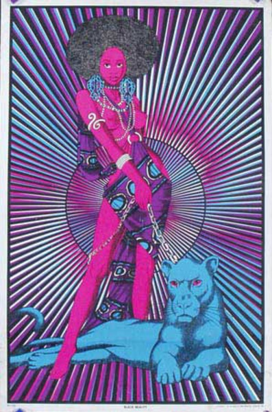 Black Beauty day glo black light Original Vintage Psychedelic Era Poster