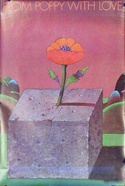 From Poppy With Love Original Vintage 1960s Psychedelic Poster