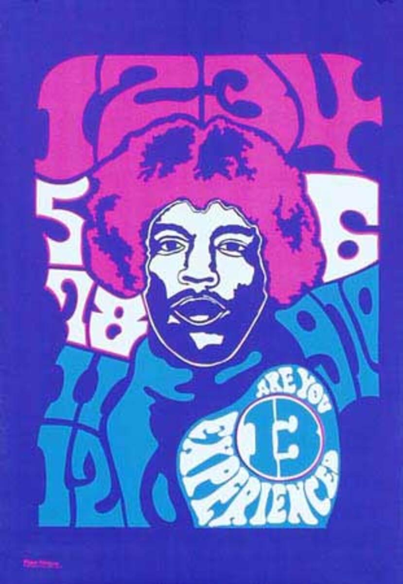 Jimi Hendrix 13 Original Vintage 1960s Psychedelic Poster