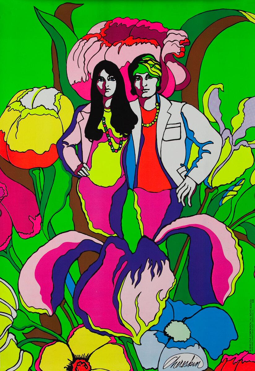 Hippie Couple Original Vintage 1960s Psychedelic Poster