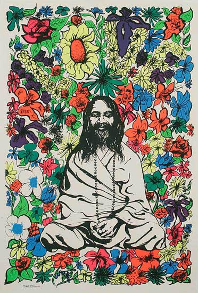 Original Vintage 60s Protest Hippy Poster, Maharishi Love Flowers