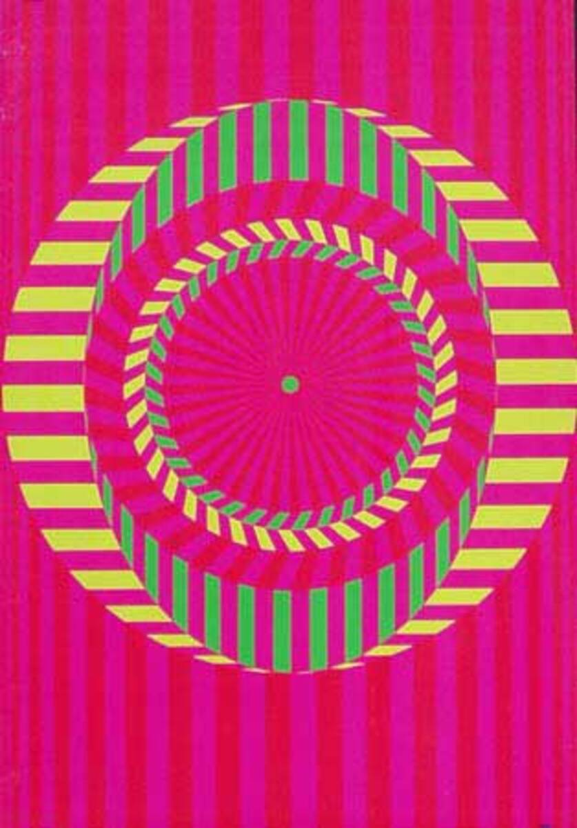 Original Vintage 1960s Psychedelic Poster Lines and Circles