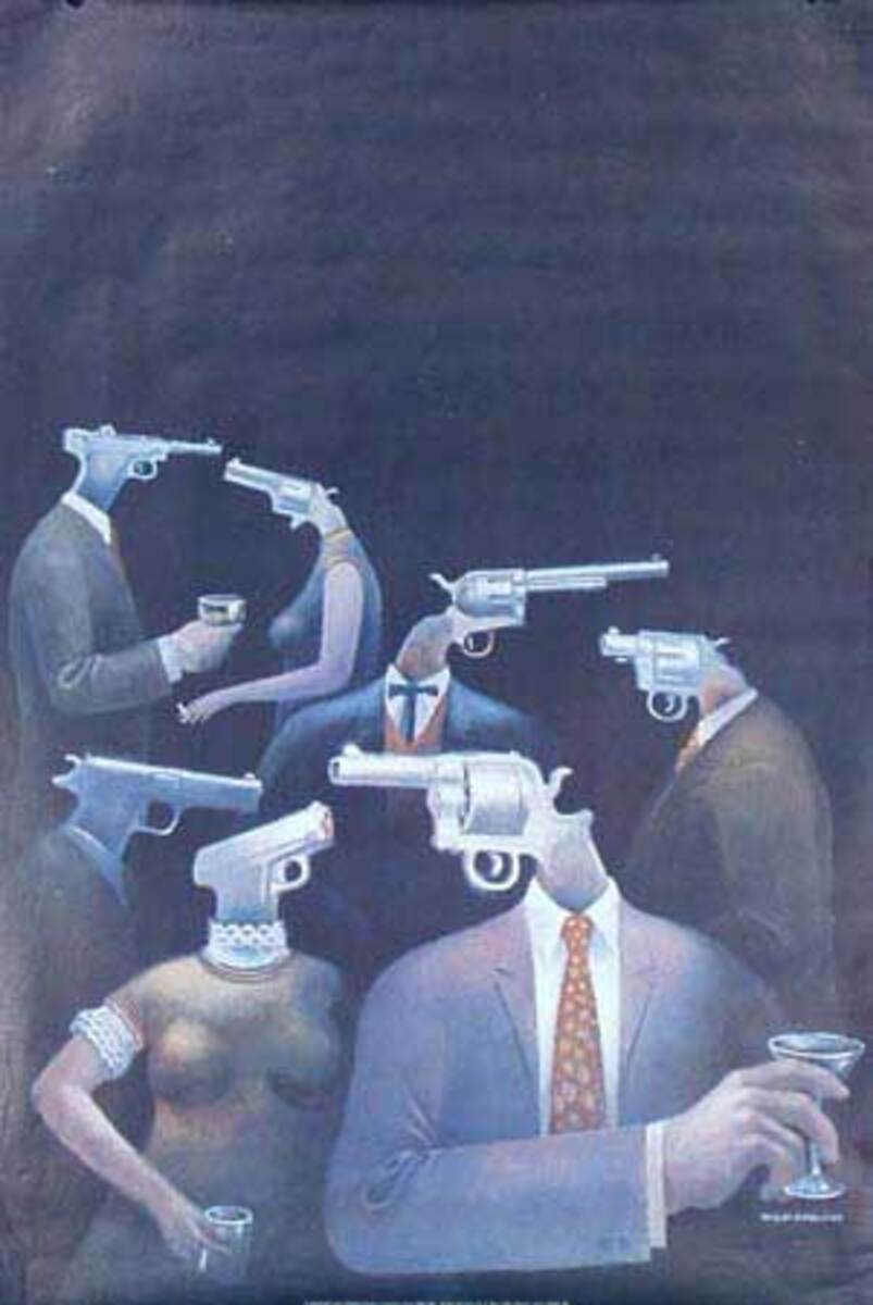 Psychology Today Gun Heads Original Vintage 1960s Psychedelic Poster